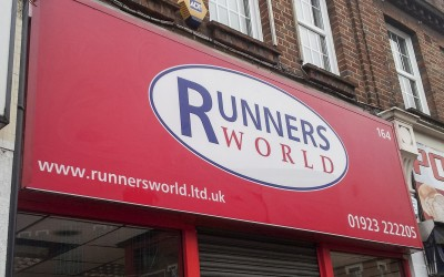 Runnersworld, Uxbridge – low-cost aluminium sign