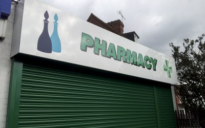 McParland's Pharmacy Langley – composite aluminium sheet sign