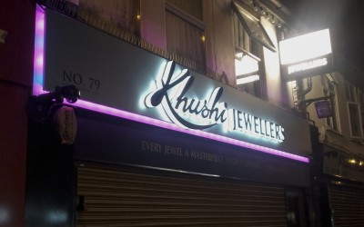 Khushi Jewellers Southall – illuminated fascia panel