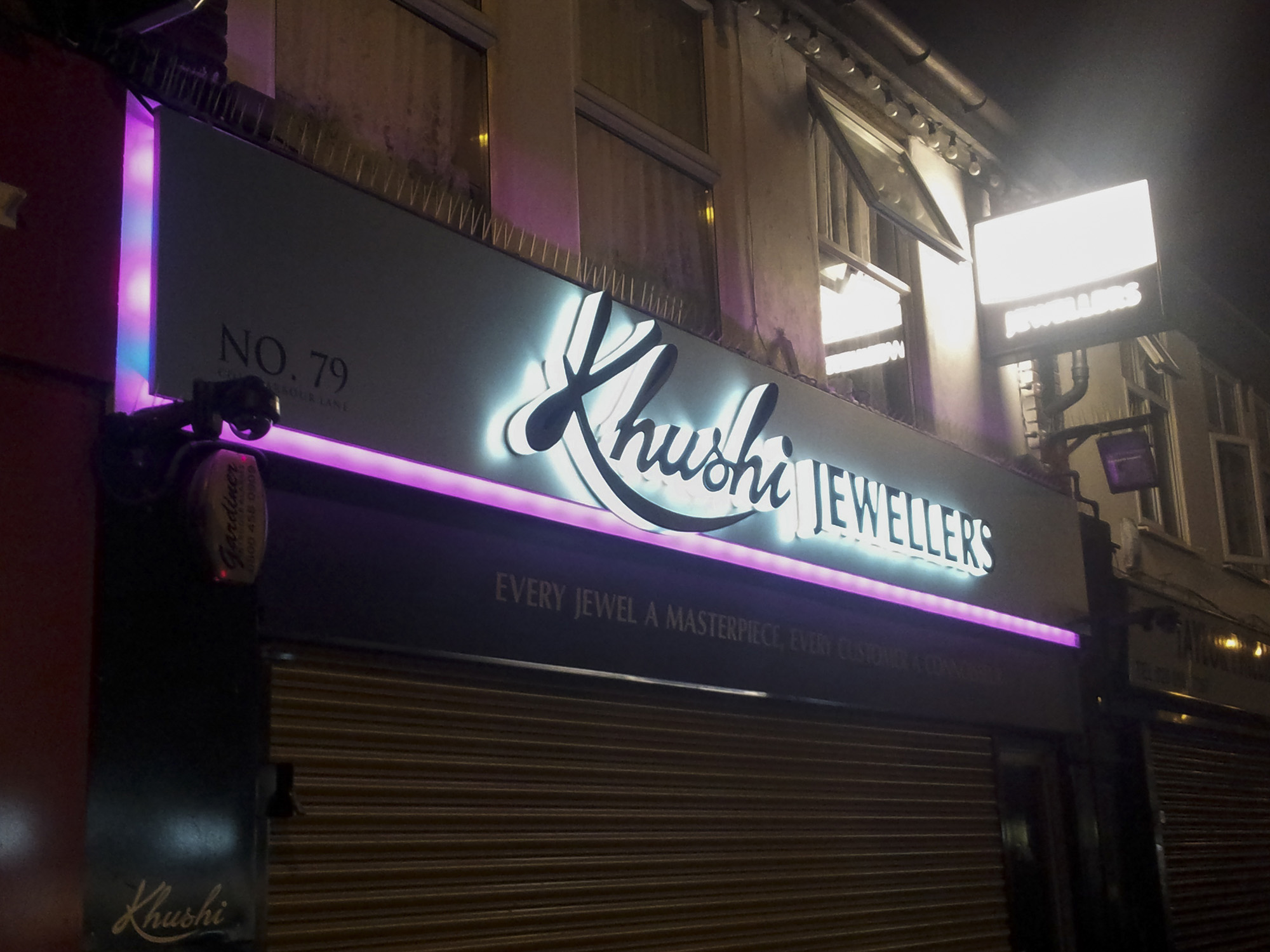 Khushi Jewellers Southall - illuminated fascia panel