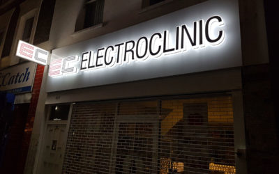 Series of 3D Perspex letters and logo – Electroclinic Chelsea